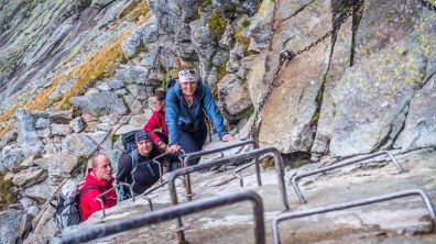 Steep sections are secured with ferrata