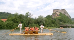 Rafting on wooden boat